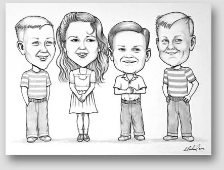 Black and white caricature of four children