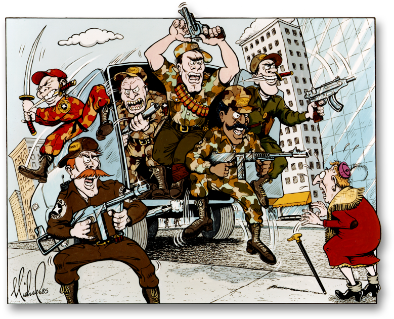 Calendar Illustrations of caricatured Policemen
